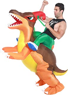 Camlinbo Adult Inflatable Dinosaur Costume Corythosaurus Rider Halloween Cosplay Party Blow up Costume
