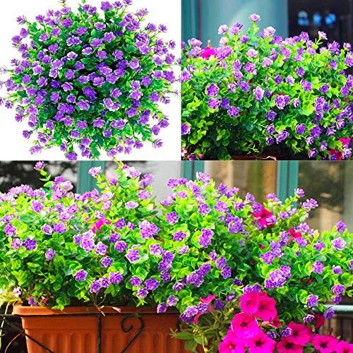 Awtlife 15 Stück künstliche Blumen im Freien, künstliche Pflanzgefäße Blumen für den Außenbereich, UV-beständig, künstliche Pflanzen, Outdoor, Brautparty, Hochzeit,