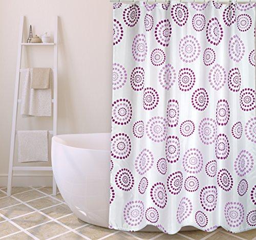 "MSV Cotexsa by Premium Anti-Schimmel Textil Duschvorhang - Anti-Bakteriell, waschbar, 100% wasserdicht, mit 12 Duschvorhangringen - Polyester, ""Dots"" Violett/Lila 180x200cm – Made in Spain"