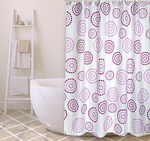 "MSV Cotexsa by Premium Anti-Schimmel Textil Duschvorhang - Anti-Bakteriell, waschbar, 100prozent wasserdicht, mit 12 Duschvorhangringen - Polyester, ""Dots"" Violett/Lila 180x200cm – Made in Spain"