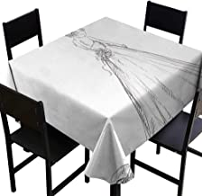 Glifporia Fitted tablecloths Bridal,Fairytale Ending of a Love Story Princess Sketchy Bride with Flowers Image,Black and White,W60 x L60 Table Cover for Square Table