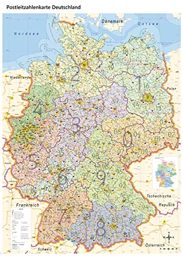 XL Postleitzahlenkarte Deutschland mit Laminierung, DIN B0, 100 x 140 cm, Auflage 2019
