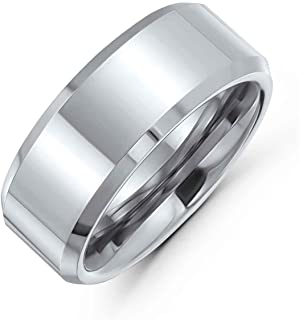 Bling Jewelry Plain Plain Simple Wide Stravagliato Nero Nero Tono Nero Coppia Matrimonio Banda Anello per Gli Uomini Donne...