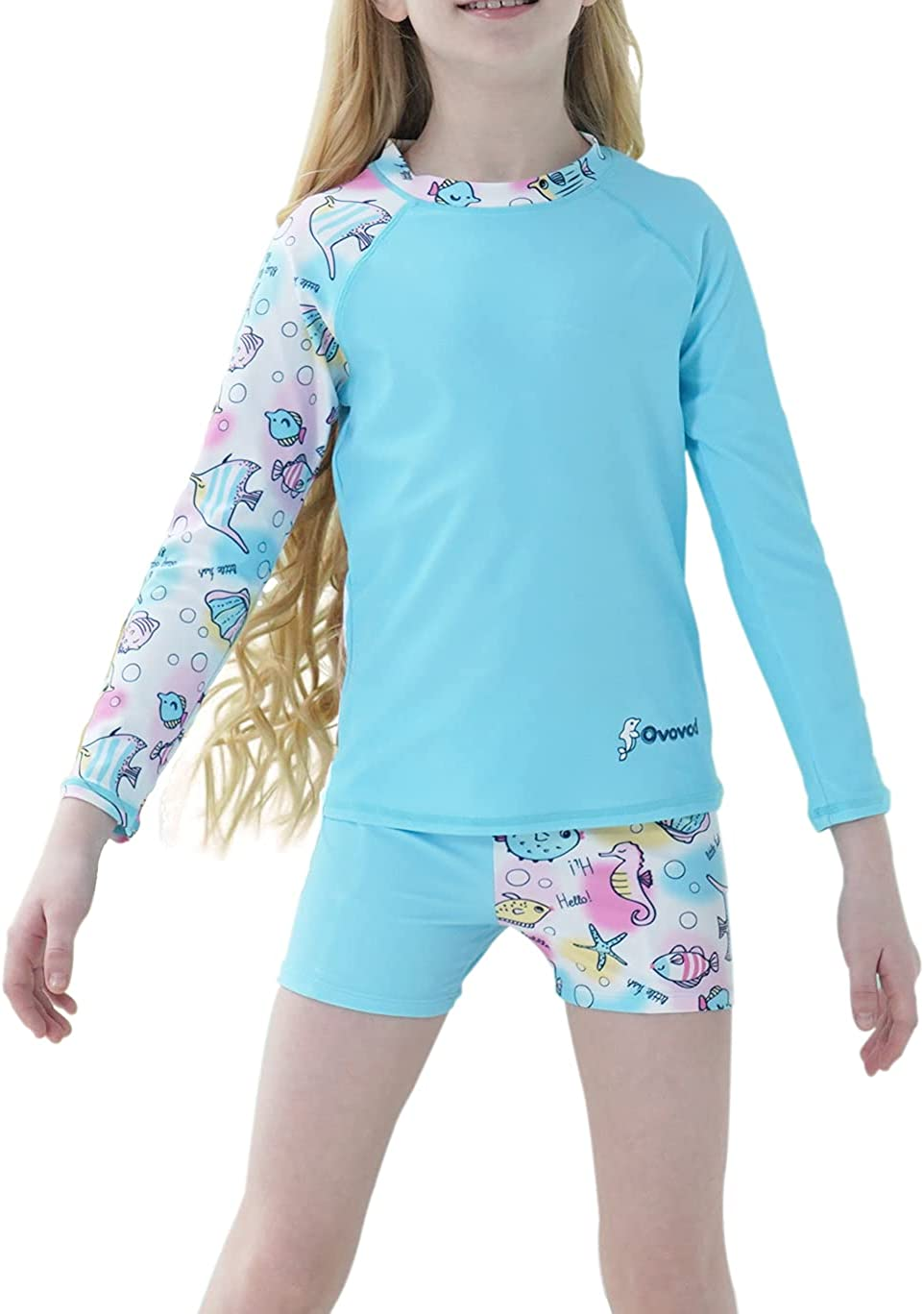 Be super Free shipping on posting reviews welcome Ovovod Girls Swimsuit Two Piece Rash Years for Set Guard UP 4-14