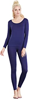 Liang Rou Women's Crewneck Long Johns Ultra Thin Thermal Underwear Set