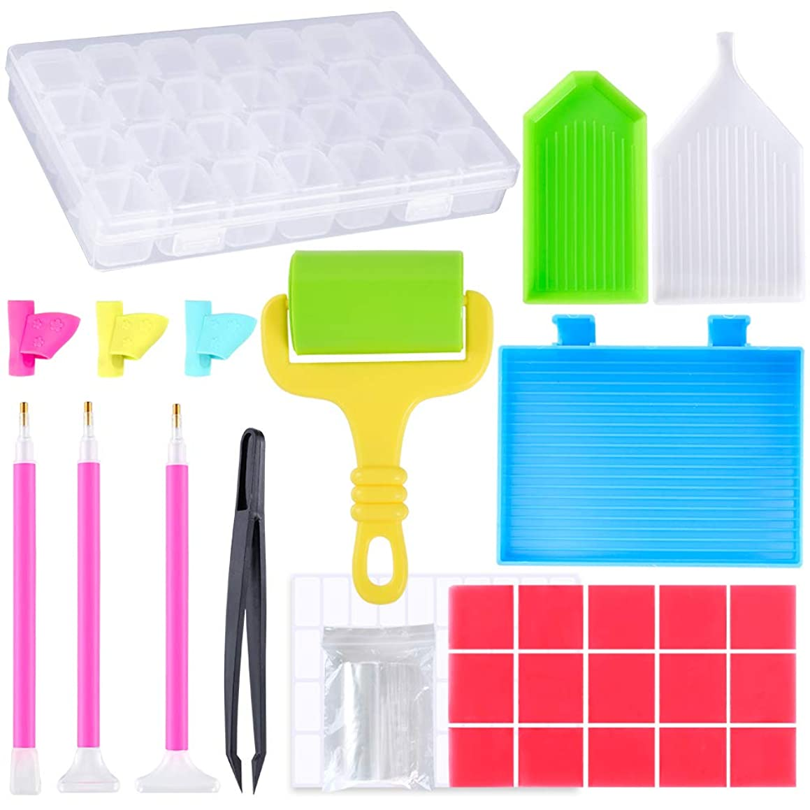 PP OPOUNT?50 Pieces DIY Diamond Painting Cross Stitch Tool Including Diamond Stitch Pen, Diamond Painting Plastic Roller, Drill Pen Grips, Plastic Tray and Diamond Embroidery Box for Arts Craft