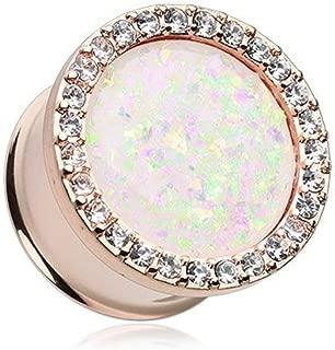Rose Gold Opal Elegance Multi-Gem Ear Gauge Plug