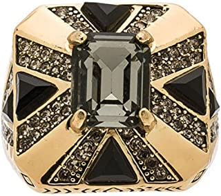 House of Harlow Dark Grey Rectangle Crystal with Black Square Goldtone Ring Sz 7