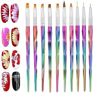 Pinceles Uñas Decoracion Gel 10 piezas/uñas de acrílico   Nail Art Conjunto para diseño uñas de Acrílico, UV, Ideal para d...