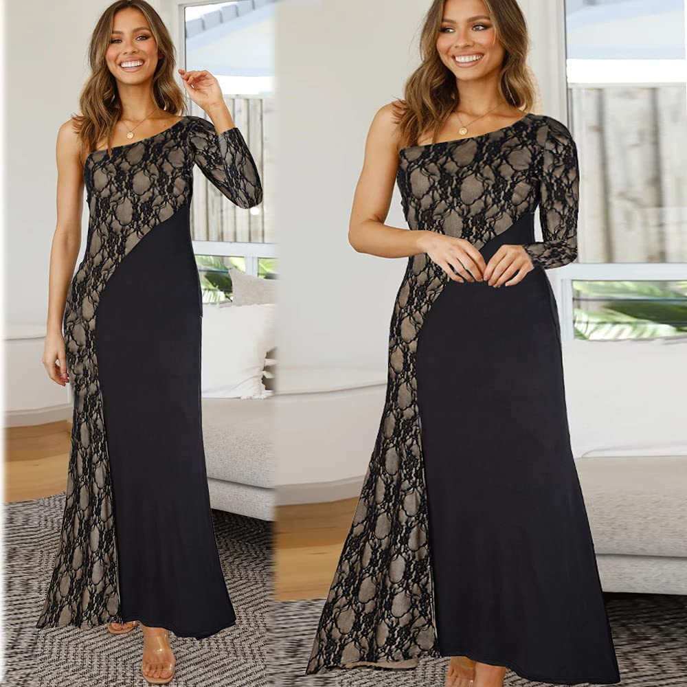 Women's Elegant One Shoulder Long Sleeve Lace Patchwork Evening Cocktail Party Prom Maxi Dresses