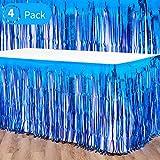 WILLBOND 4 Paquetes Faldas de Mesas con Flecos de Papel Metalizado Bandera de Falda de Mesa Desechable para Decoración de Fiesta Vacación Cumpleaños Boda de Mesas Rectangulares (Azul)
