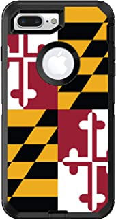 DistinctInk Custom Skin/Decal Compatible with OtterBox Defender for iPhone 7 Plus / 8 Plus - Maryland State Flag - Show Your Love of Maryland