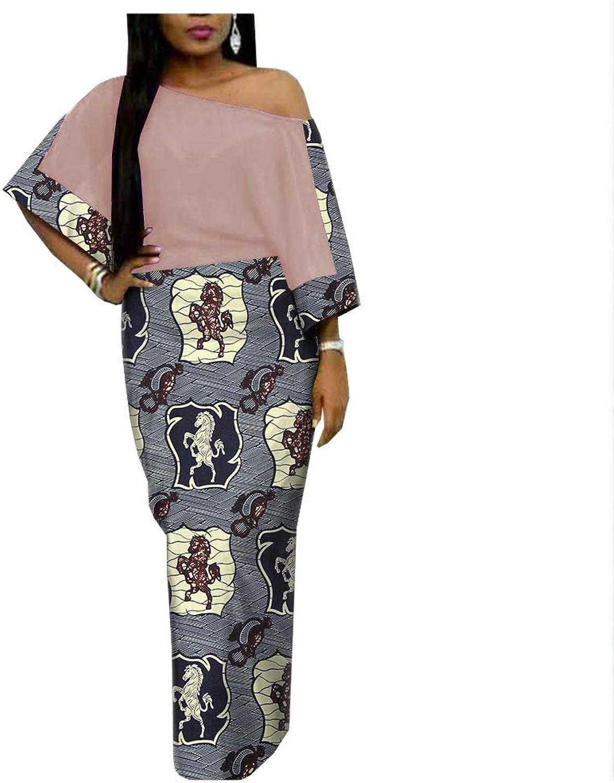 African Ankara Print Women Casual Dress One Shoulder Slash Neck Floor Length 100% Batik Cotton Made AA1825093