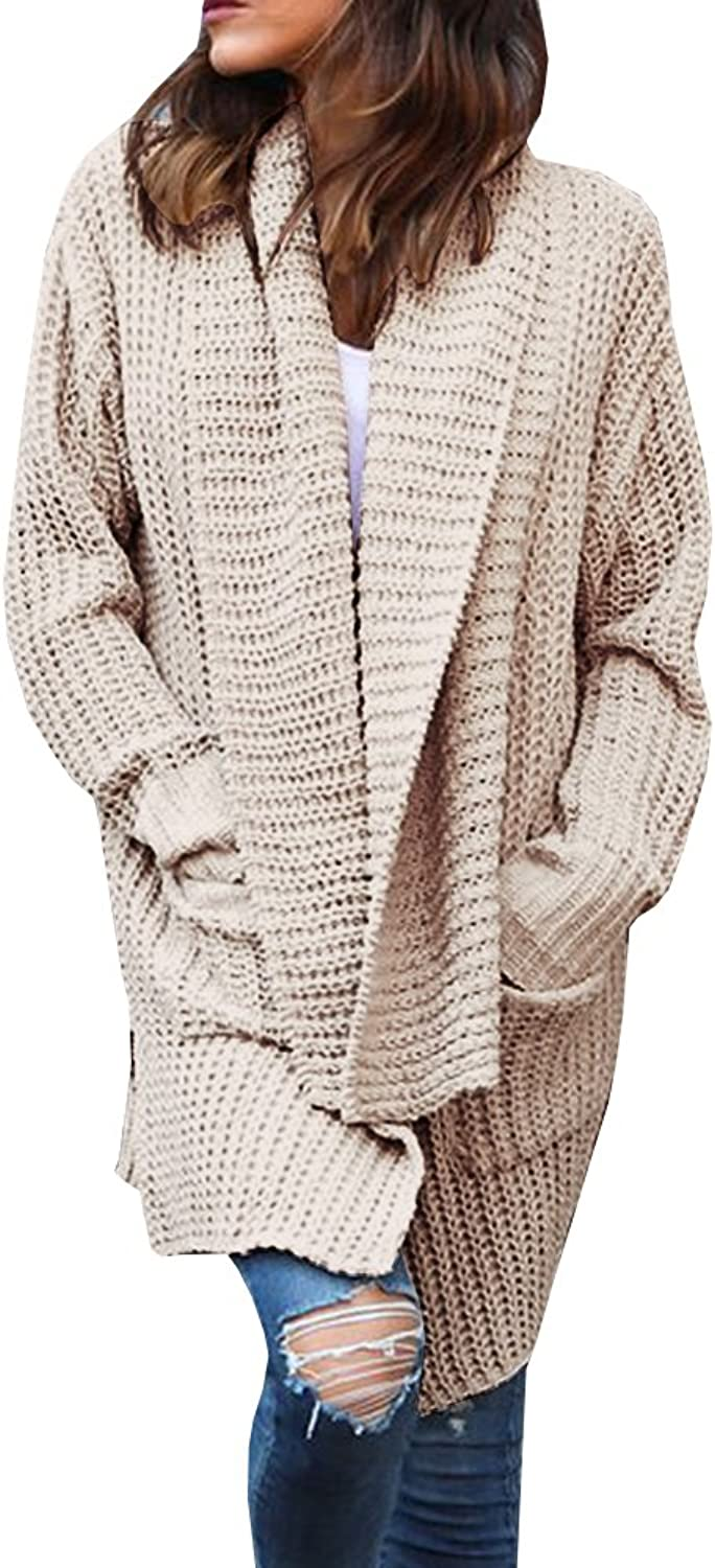 Gobought Women's Casual Long Sleeve Chunky Cable Lapel Draped Knit Sweater Cardigan Coat with Pockets