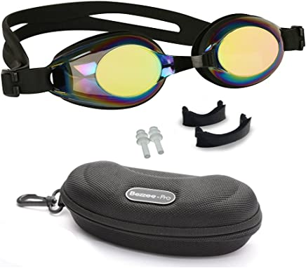 Kids Swimming Goggles with 3 Adjustable Nose Bridge & 100% UV Protected Anti-Fog Mirror Coated Colour Lens, Anti-Leak, Best Swim Goggle for age 4 to 12 yrs, Case & Ear Plugs