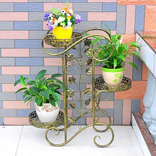 WILL.I.AM Étagères de Porche Porte-Grille en Fer, Support en 3 étagères Stand Bonsai Home Jardin Décor de Patio étagères Noir/Or Support de Plante de boîte à Fleurs (Couleur : A)