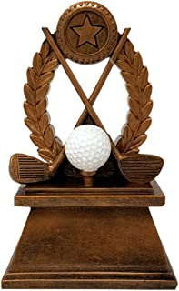 Decade Awards Golf Wreath Trophy - Golf Tournament Resin Award - 7 Inch Tall - Engraved Plate on Request