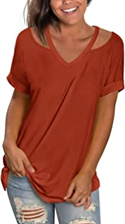 NIASHOT Women's Casual Short and Long Sleeve Solid Criss Cross Front V-Neck T-Shirt Tops