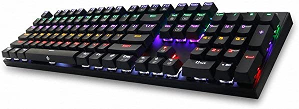 ABKO K640 QUICK SWAP Switch Mechanical Custom Keyboard Rainbow LED NKEY-Rollover (English/Korean Layout) Black Color (Blue Switch (Click))