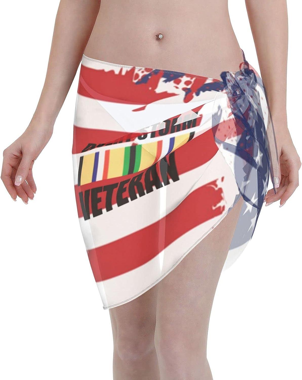 Desert Storm Veteran Logo Women Short Sarongs Beach Wrap Swimsuit Cover Ups Sheer Short Skirt Bikini Chiffon Scarf Black