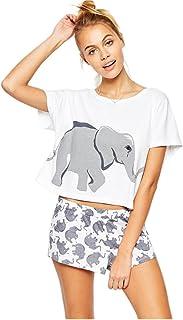 Pareja Pijamas Mujer Elefante Algodón Blanco Moda Tops Pantalones Cortos Lenceria Ropa de Dormir