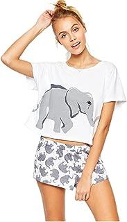 Sets Elephant Pajamas Women Cotton Home Wear Cute Sleep T Shirt Tops Shorts PJS Sleepwear Nightwear Teen Girls