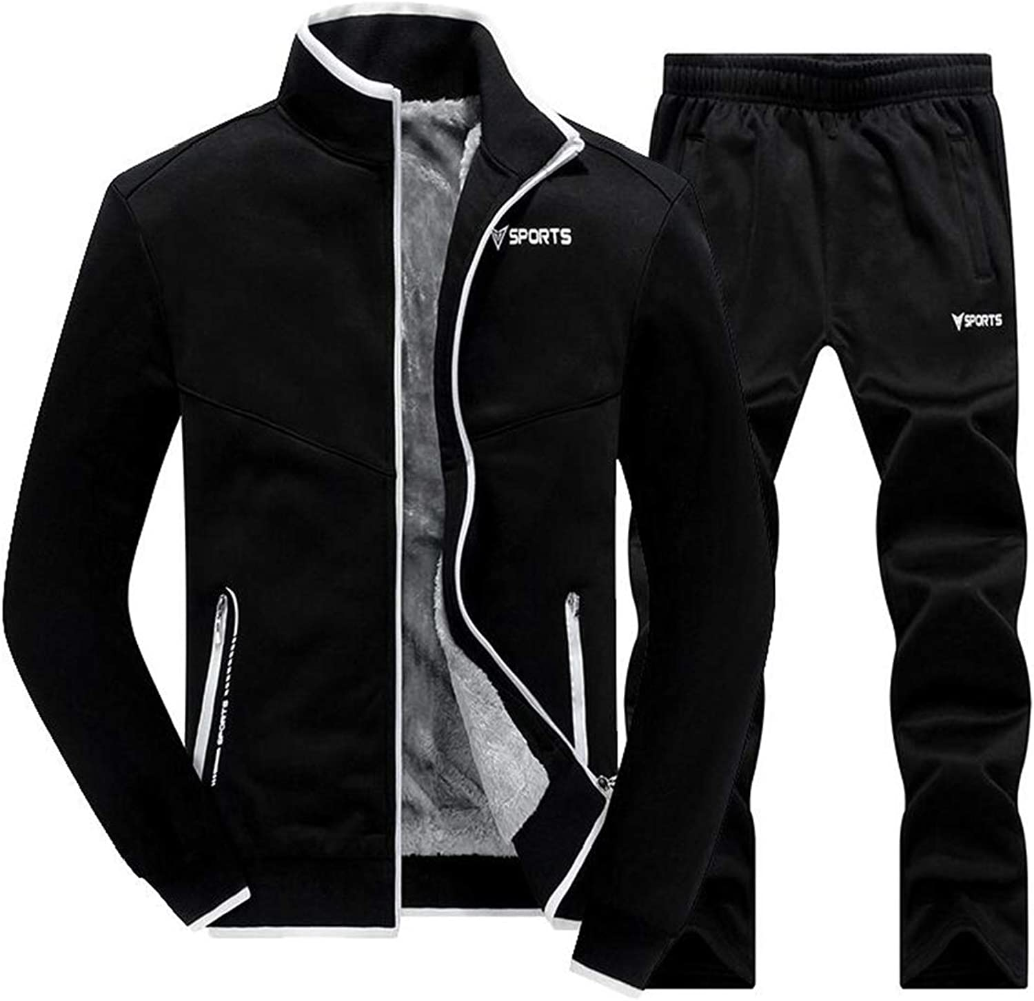BU2H Men 2 Piece Outfits Slim Zip Front Thick Fleece Casual Active Tracksuits
