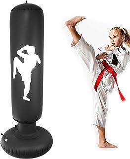 Nabance Saco de Boxeo Inflable, 150cm Saco de Boxeo Hinchable de Pie para Niños, PVC Fitness Boxeo Inflable Saco de Arena Columna Tumbler Saco de Arena para Niños y Adultos