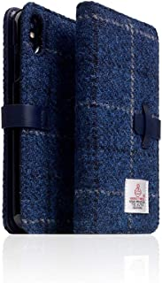 [SLG DESIGN] D5 Special Edition X Harris Tweed for iPhone X/XS I 100% Tweed Wool Fabric Flip Folio Book Case Wallet Cover with Feature Card Slots Compatible with iPhone X/XS (Navy)