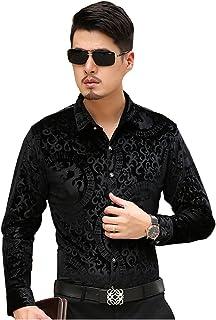 ISMEN Men's Casual Long Sleeve Velvet Dress Shirts