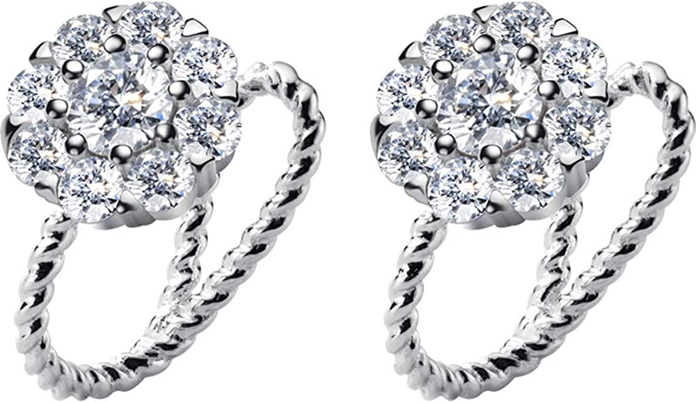 Halo Diamond Clip On Small Hoop for Earrings Women OFFicial site Max 46% OFF S925 Girls St