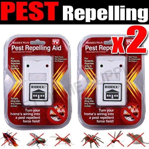 2 Riddex Plus repelente de plagas para roedores, cucarachas, hormigas, arañas