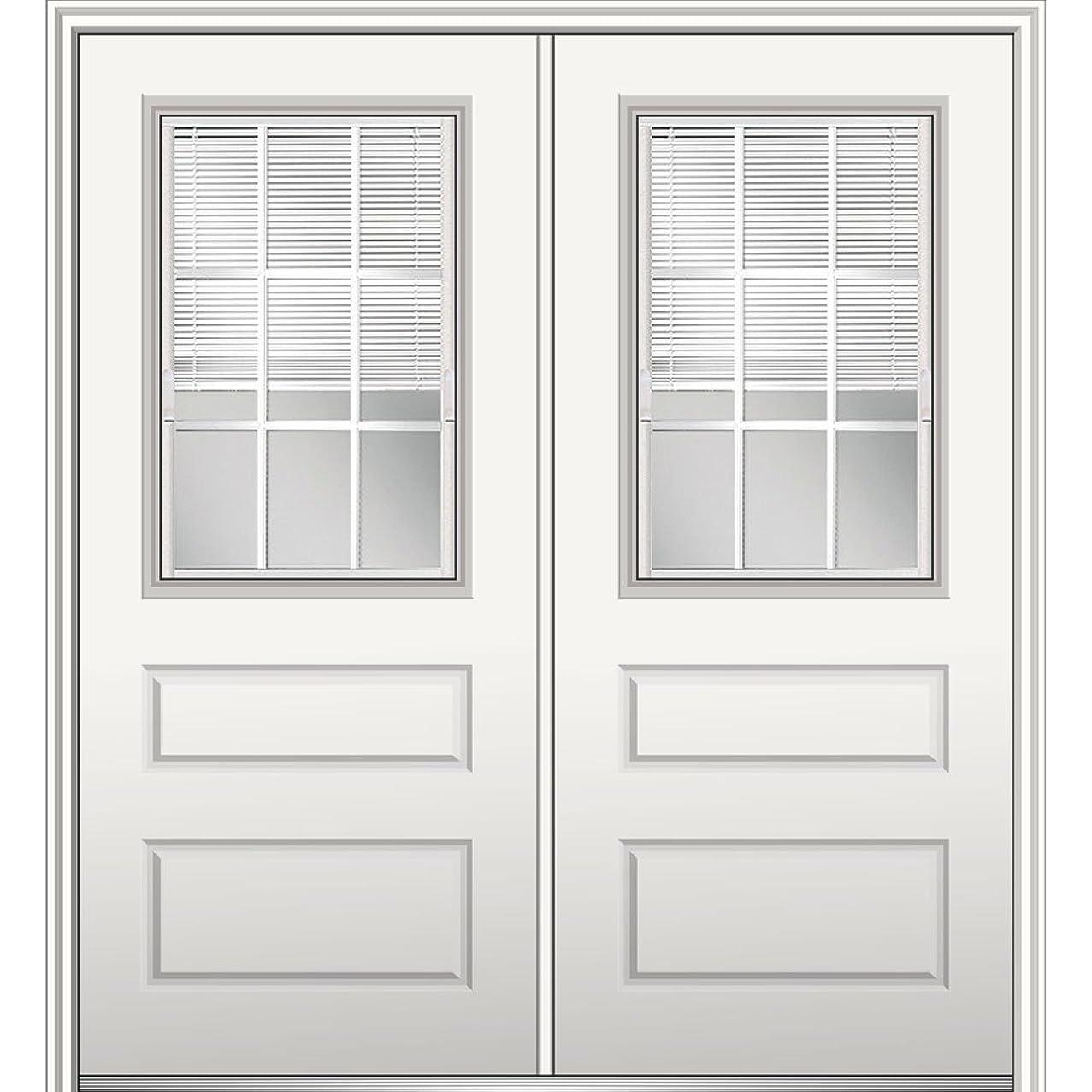 National Door Company Z029711R Fiberglass Smooth, Primed, Right Hand In-Swing, Exterior Prehung Door, Internal Blinds 1/2 Lite 2-Panel, 72