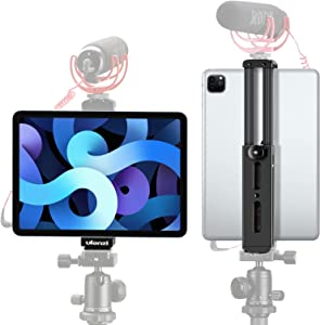 Ulanzi Aluminum iPad Tripod Mount with Cold Shoe Compatible for iPad, Metal Tablet Tripod Adapter Holder with Quick Release Plate 1/4'' Screw Mount Universal for iPad Mini/iPad 4/iPad Pro/Surface Pro