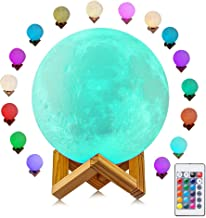 Moon Lamp, 16 Colors Moon Light with Remote & Touch Control, 3D Printing LED Night Light, Adjustable Brightness USB Rechargeable Lunar Light for Creative Gift, 5.9 inch