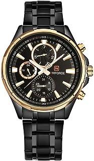 クロノグラフ時計メンズクォーツウォッチナビフォースラグジュアリースポーツ時計ゴールド鋼時計防水カレンダー腕時計reloj hombre