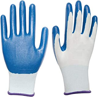 SUP-MANg Industrial Gloves Comfort Coated Breathable Semi-Latex Latex Wrinkles Brushed Gloves Knit Wrist Cuff (12 Pairs) (Color : F)