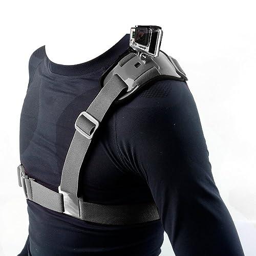 Bandoulière Hapurs, harnais d'épaule simple épaule, support pour caméra d'épaule, sangle de poitrine qui peut prendre en charge les caméras GoPro Hero 23, GoPro HD, GoPro Hero 3+, GoPro Hero 4, SJ4000