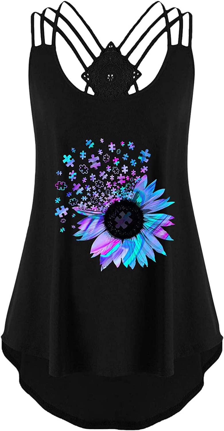 Crop Tops for Women, Womens Loose Fit Tank Tops Camis Dressy Casual Vintage Sunflower Graphic Tees Sleeveless Shirts Blouse