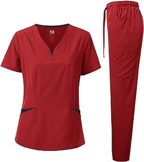 Dagacci Medical Uniform Women's Scrubs Set 4-Way Stretch Split Contrast Net and Pocket