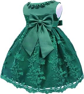 HX Baby Girl's Newborn Bowknot Gauze Christening Baptism Dress Infant Flower Girls Wedding Dresses 13 Color