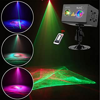 Laser Projector SUNY RG Gobos Projector Full Color Galaxy Projector LED Projection Aurora Laser Light Show Sound Activated DJ Laser Lights Machine Party Light Xmas Disco Holiday Christmas Event Show