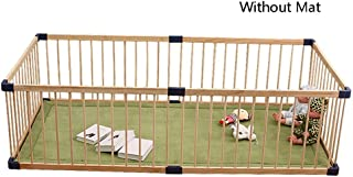 XHJYWL Playpen Wood Baby with Door  Kids Safety Play Center Yard Home Indoor Outdoor Pen  80x160cmx61cm  Without Mat  Size 80x160cm