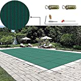 famico FMC Safety Swimming Pool Covers Inground Safety Pool Cover 14x26ft Green Mesh Winter Pool Covers for Above Ground Pools