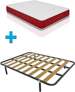 Duermete Cama Completa con colchón viscoelástico viscogel Reversible + somier Basic + 4 Patas, Conjunto