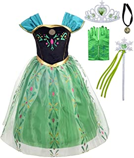 Lito Angels Disfraz de Coronación de Princesa Anna para Niñas Pequeñas, Vestido de Fiesta de Cumpleaños de Halloween