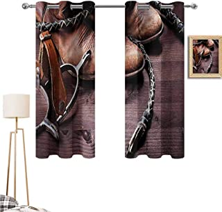 """1GShophome Western Fun Curtains Authentic Old Leather Boots and Spurs Rustic Rodeo Equipment USA Style Art Picture Print Ideal for Living Rooms and bedrooms Brown 55""""x 72"""""""