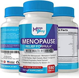 MenoPlay: Menopause Support & Hormone Balance Supplement for Women - Natural Menopausal Relief w/Multivitamins - Includes DIM, Black Cohosh, Soy, Vitamins for Hot Flashes, Night Sweats, More