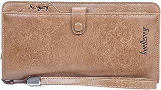 محفظة جلدية طويلة للمال والبطاقات والموبايل للرجال/ النساء بلون بني فاتح