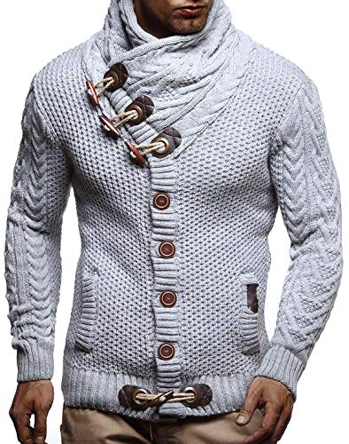 Leif Nelson LN4195 Men's Knitted Turtleneck Cardigan Sweater Pullover Sweatshirt Winter; 4X-Large, Grey